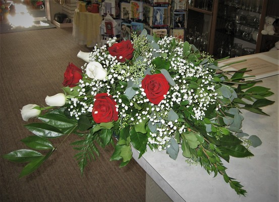 Simple Red & White Casket Spray from Aladdin's Floral in Idaho Falls